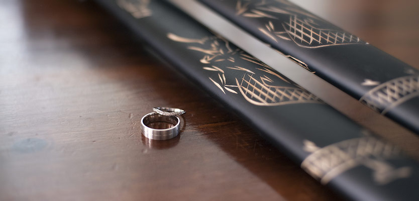 Wedding ring and swords
