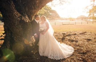 Bride and Groom under trees