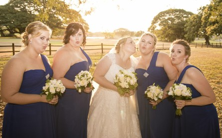 Bridal party having fun