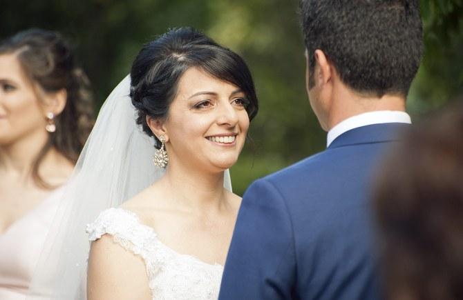 Bride looking happy