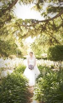 Bride walking the gardens