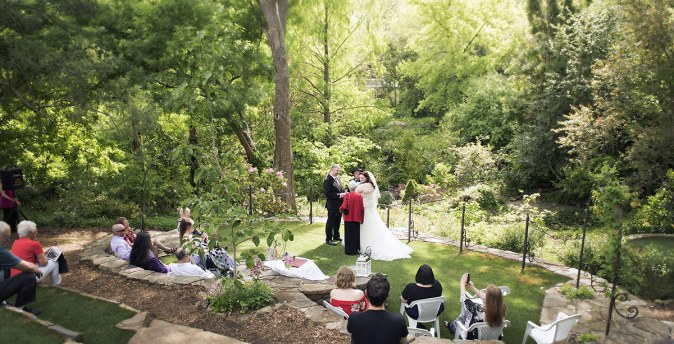 Wedding in the crafers cottages garden