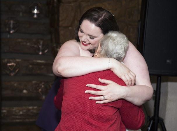 Bride hugging granny