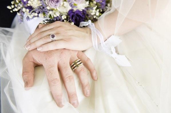 Closeup of wedding rings
