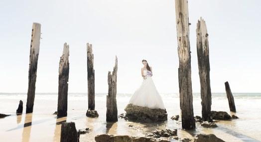 Bride on rock