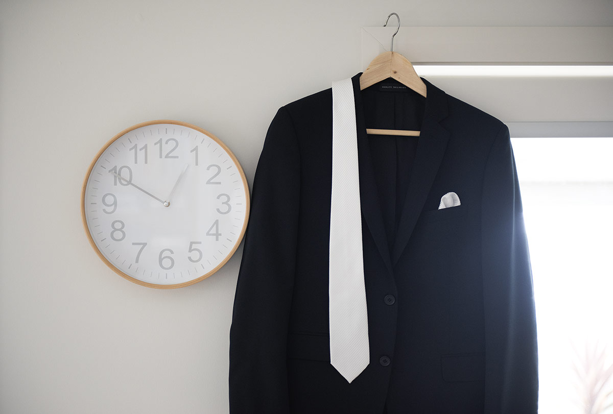 Suit hung up