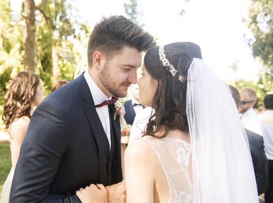 Bride and groom being cute