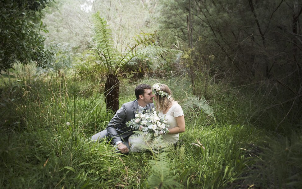 Private kiss in undergrowth Adelaide Wedding Photography