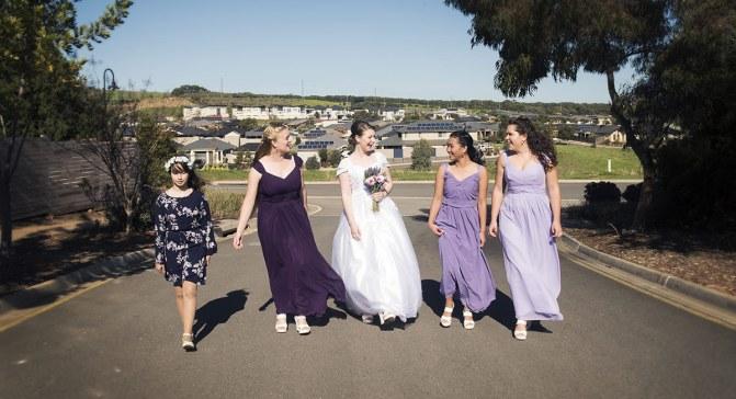 Walking bridal party