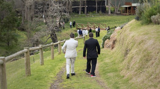 Walking down to wedding ceremony