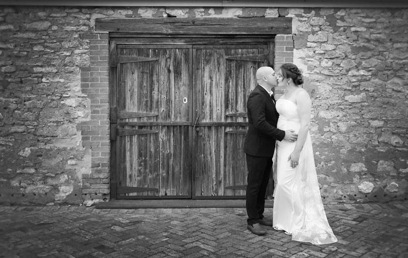 In front of the doorway