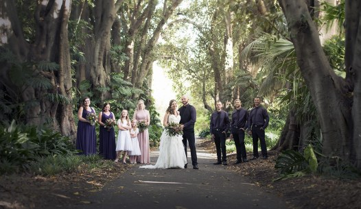Bridal Party under the trees