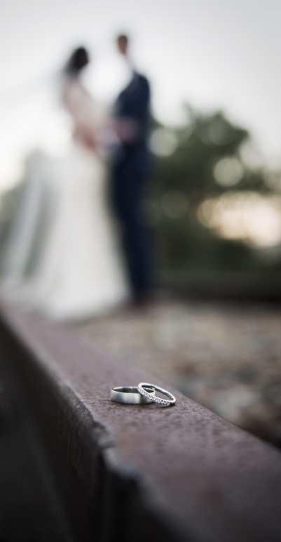 Wedding rings on railway