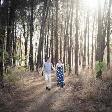 Walking together in the forest