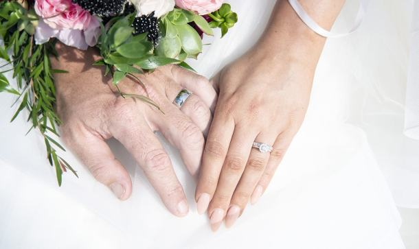 Wedding bands on hands