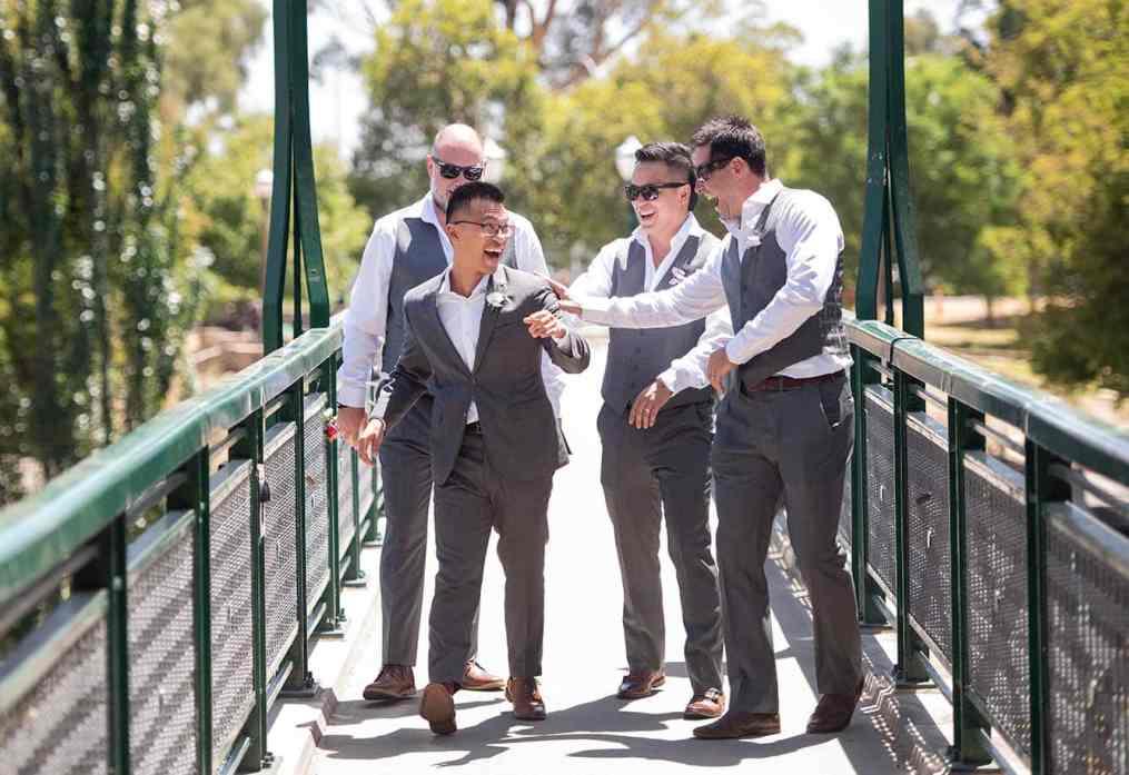 Shoving the groom around
