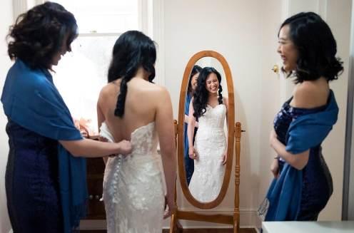 Looking in mirror