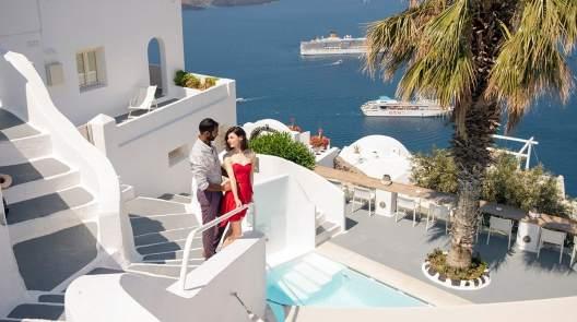 Amongst the white buildings of Santorini