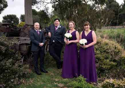 bridal party near cart