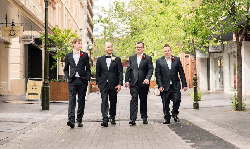 Groom and groomsmen walking in Adelaide