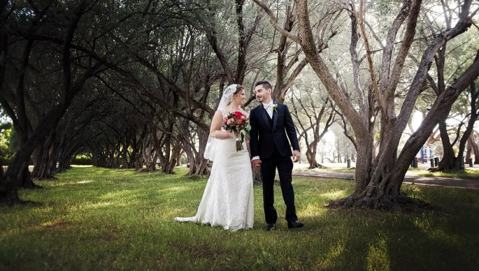 bride and groom in Mclaren vale's olive trees