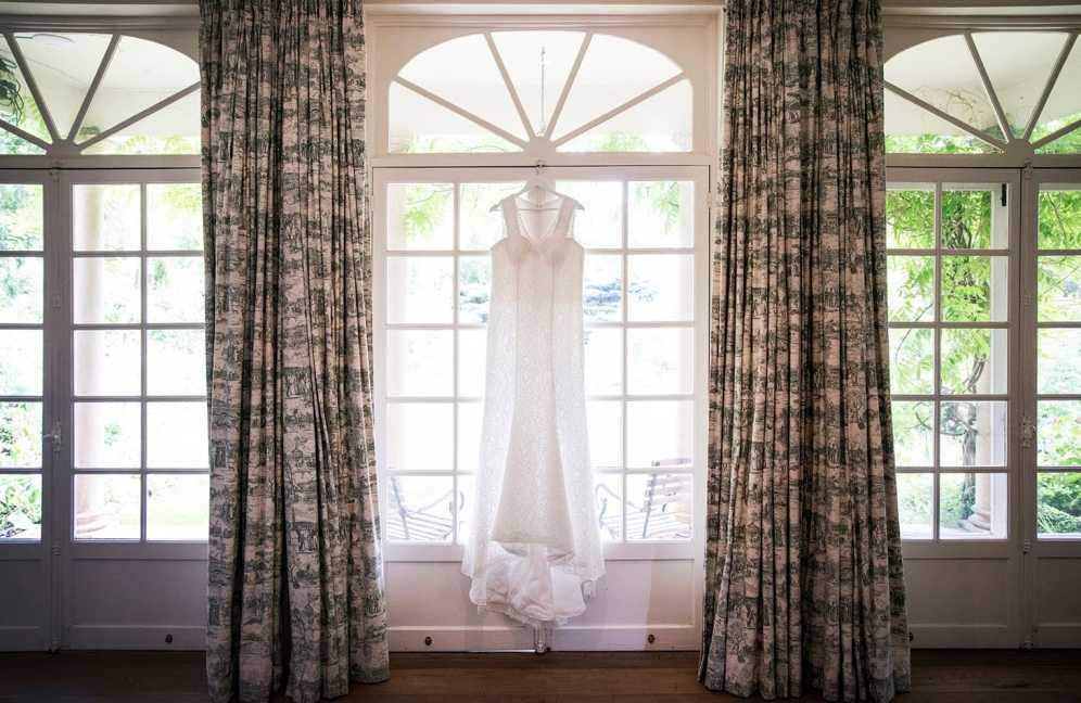 Wedding dress in windows