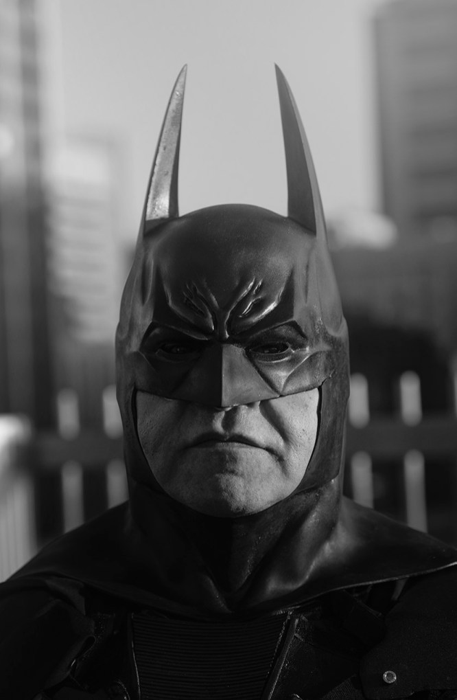 batman black and white portrait