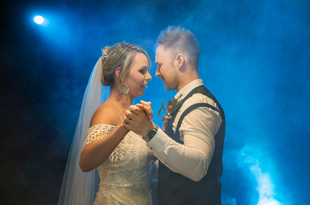 first dance in blue smoke