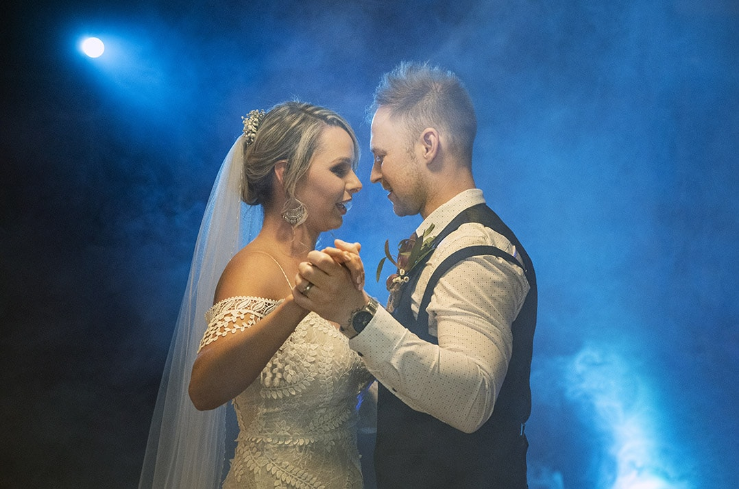 first dance in blue smoke