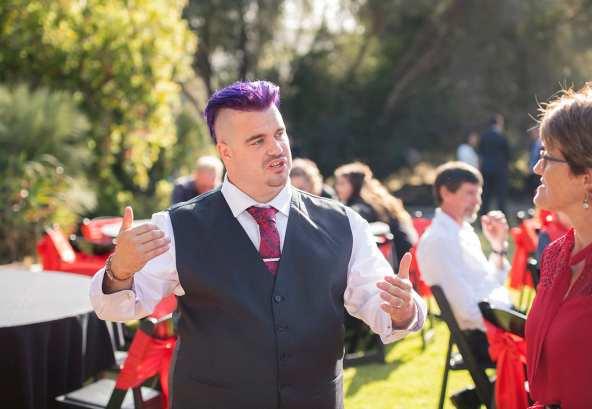 groom talking