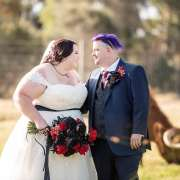 laughing bride and groom