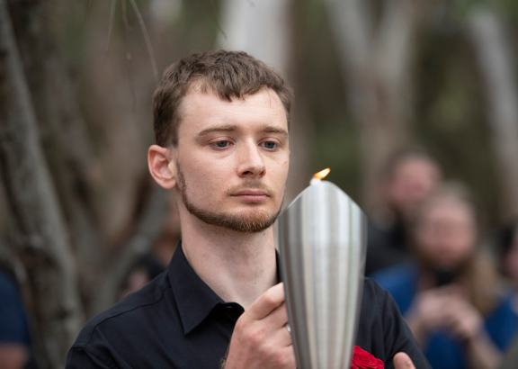 Lighting the flame during the Asatru wedding ceremony