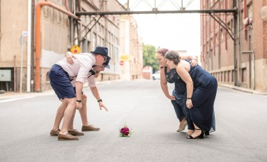 Bridal Party playing rugby on Crozier st