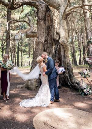 First kiss under the wedding tree
