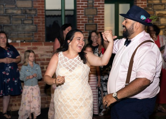 Having fun during the first dance