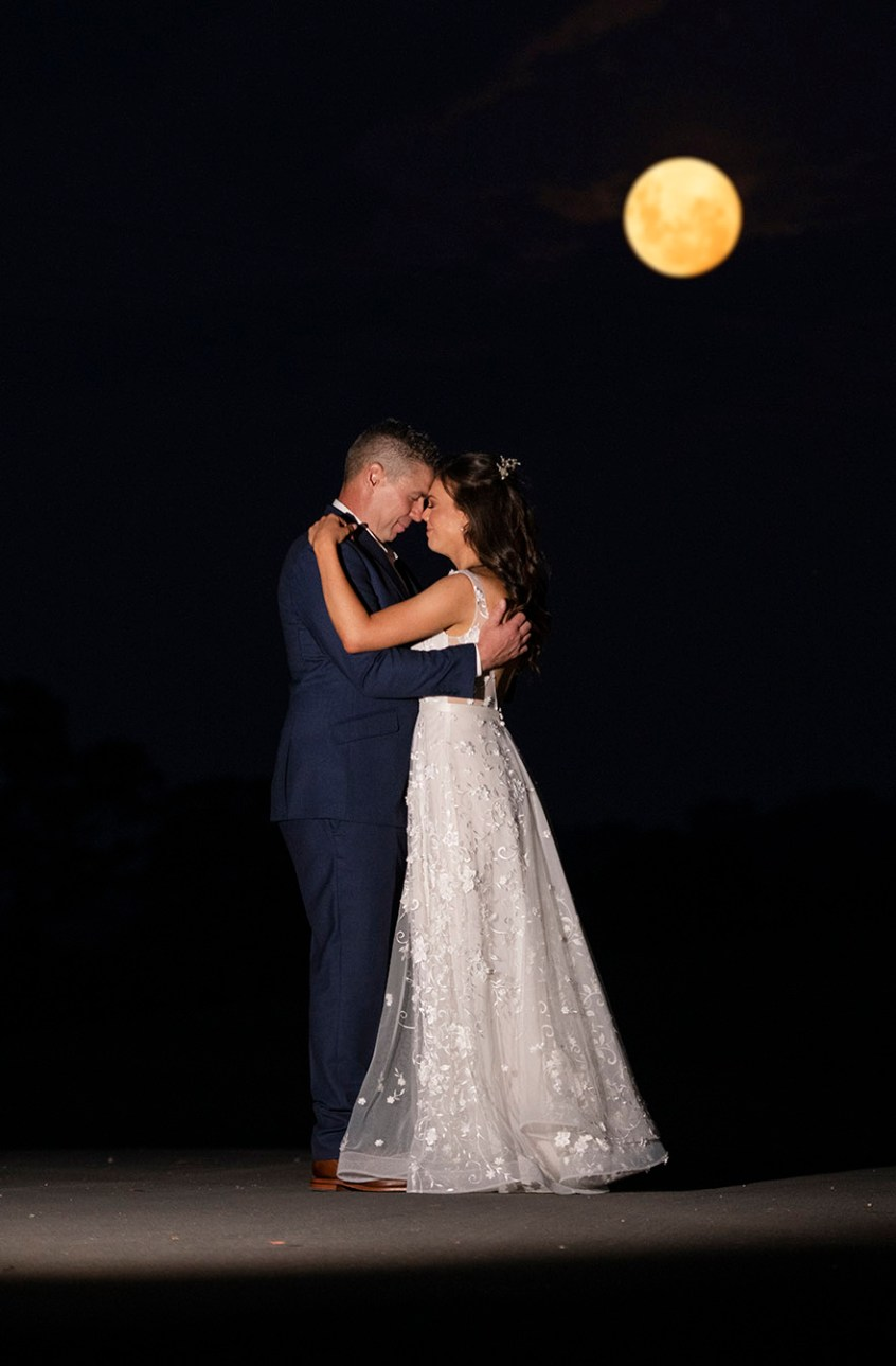 Bride and Groom under full moon