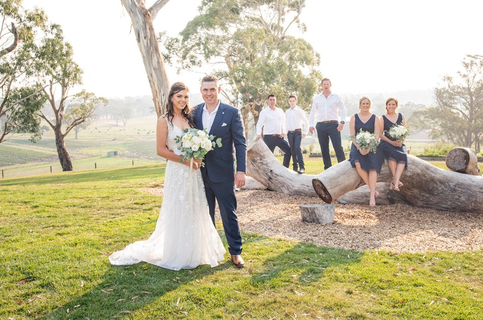 Bride and groom with the bridal party
