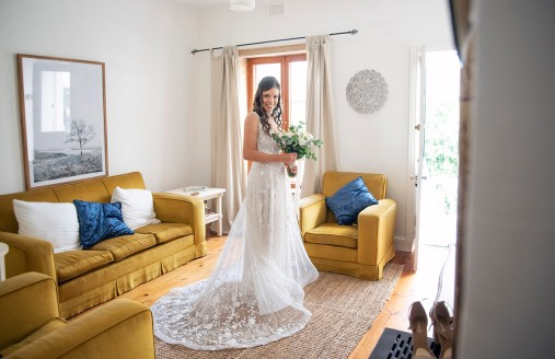 Bride standing in room