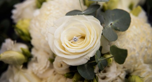 Engagement ring in roses