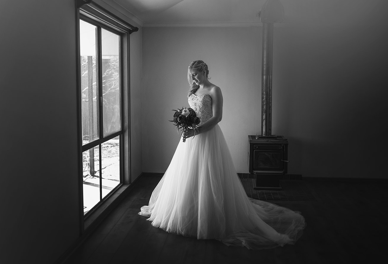 Bride looking pretty in black and white