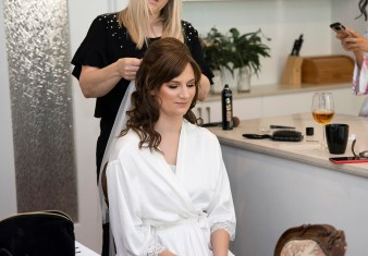 bride getting her hair done