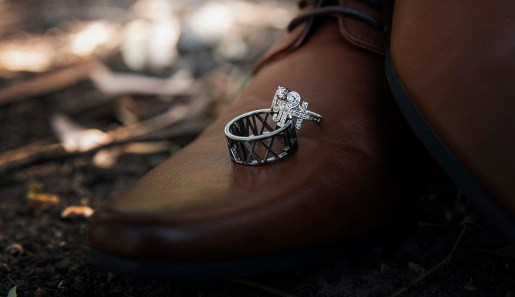 Wedding rings on shoes