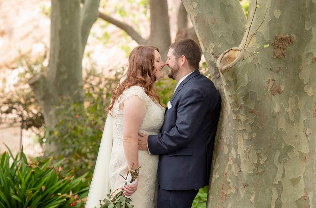 Bride and groom leaning on a tree at Stockade Botanic Park