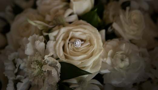 Engagement ring in bouquet 3