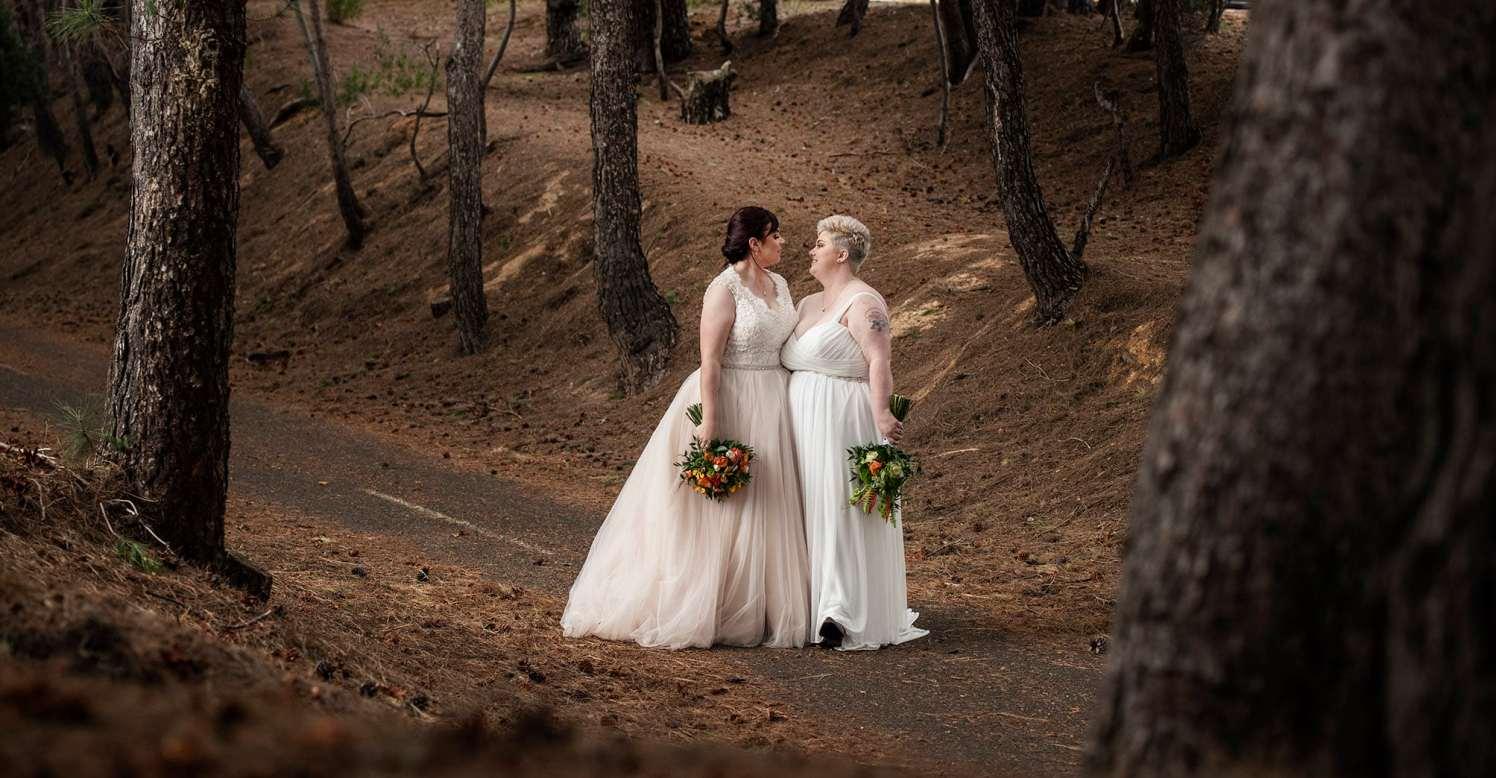 Brides sharing a moment