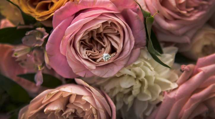 Engagement ring amongst the bouquet