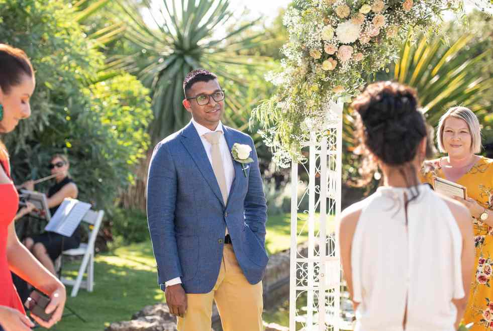Grooms first look at the Sunken Garden