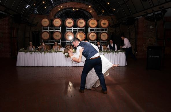 First dance at serafino wines wedding