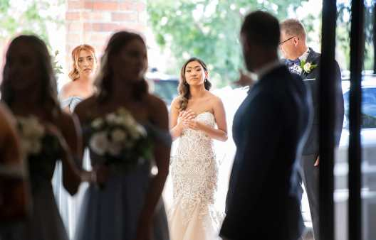 bride anxious to start walking down aisle