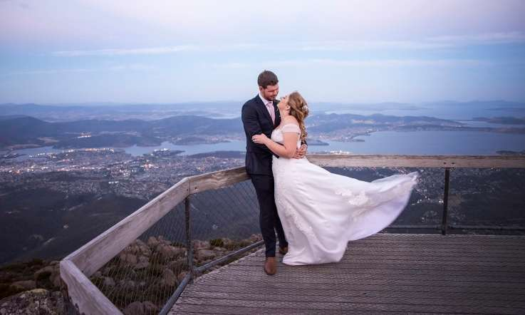 Mt Wellington Lookout wedding photography